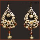 Exotic Chandelier Earrings Gold Tone Faux Topaz Crystal New