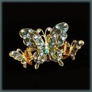 AQUA BLUE SWAROVSKI CRYSTALS HAIR CLAW CLAMP BUTTERFLY Gold Tone New