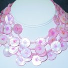 PINK ABALONE SHELLS & SEED BEADS NECKLACE & EARRING SET New