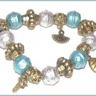 Aqua Charm Bracelet Metallic-Look Victorian Fan Fish New