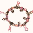 Women's Cancer Aware Pink Ribbons Charm Bracelet New