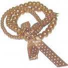 COCOA FAUX PEARL STRANDS BRACELET w/DOTTED RIBBON BOW New