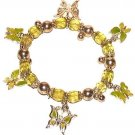 BUTTERFLY CASUAL CHARM BRACELET LIME GREEN & YELLOW ENAMELED New