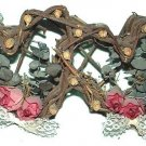 SHABBY COUNTRY WICKER HEARTS DECOR LACE & DRIED ROSES Pre-owned