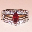 Ruby Red CZ Solitaire Engagement RingSize 8.5 WGP New