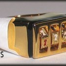 SLOT MACHINE RING HIP HOP GAMBLER Size 14 Yellow Gold Plated New