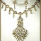 EXOTIC CRYSTAL WEDDING NECKLACE EARRING SET PETITE New