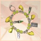Charm Bracelet Shopping Charms Lipstick Shoe Ring Credit Card Green New