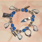 Charm Bracelet Shopping Charms Lipstick Ring Shoe Credit Card Blue New