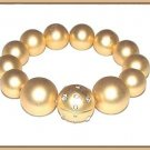 SLEEK MATTE GOLD COLOR FAUX PEARL BRACELET ~ VERY ELEGANT!