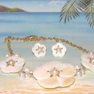 CARVED MOTHER of PEARL SHELL NECKLACE & EARRINGS SET New
