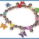 CHARM BRACELET COLORFUL BUTTERFLIES CASUAL STRETCH Cute