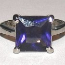 Dark Blue Simulated Tanzanite Solitaire Ring Ladies Sz 6.5 WGP Setting