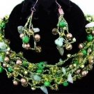 MULTI STRAND SHADES of GREEN BEADED NECKLACE & EARRINGS New