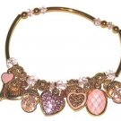GOLD PLATED EURO FRENCH BOUTIQUE STYLE CHARM BRACELET