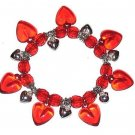 SOLID Puffed BRIGHT RED HEARTS CASUAL CHARM BRACELET