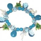 Aqua Blue PINEAPPLES & PALM TREES CHARM BRACELET New