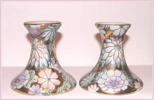 VINTAGE TOYO CANDLE HOLDERS PAIR FAUX CLOISONNE' FLORAL Used