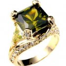 SIMULATED OLIVE PERIDOT PRINCESS CUT RING FREE MINI GIFT BOX