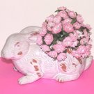 White & Tan Ceramic Bunny Rabbit Flower Holder Planter