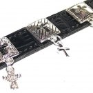 Christian Black Leather Bracelet w/ Silver Rhodium Cross Charms New