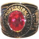 Mens TRUCKER TRUCK DRIVER RING RED CZ Size 13.5 New