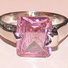 LADIES PINK CZ SOLITAIRE RING  Size 9, MINI GIFT POUCH New