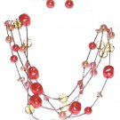 CORAL PEACH FAUX PEARLS BEADS CHAIN NECKLACE EARRINGS SET New