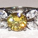 SIMULATED CITRINE CZ RING WGP Size 8.5 Mini Gift Pouch New