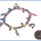 Tropical Ocean Charm Bracelet Sea Dolphin Fish Colorful