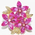Fantasy PINK CRYSTALS Flower Filigreed DINNER RING Gift Box New