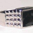 Mens Black Enamel,Silver Rhodium Ring Size 11 Classic New