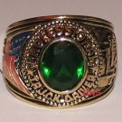 Mens Truck Driver Ring Size 9 Dark Emerald Green CZ Trucker YGP