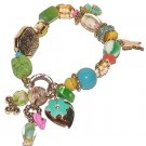 Multi-Color Stones Beads Charm Bracelet Euro Heart