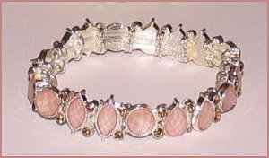 CUFF BRACELET PINK STONES &amp; SWAROVSKI CRYSTALS PETITE