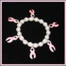 CANCER AWARE CHARM BRACELET PINK RIBBONS, FAUX PEARL