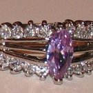 Ladies Im. Amethyst Engagement Cocktail Dinner Ring Size 8 Sterling