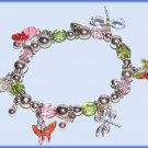 CHARM BRACELET BUTTERFLIES DRAGONFLIES COLORFUL STRETCH