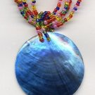 CHUNKY Tropical BLUE ABALONE SHELL BEADED NECKLACE PENDANT New