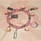 Charm Bracelet Pink Shopping Charms Shoe Ring Lipstick Credit Card New