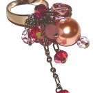 PINK FAUX PEARLS & CRYSTALS Dangle Dinner Ring Size Adjustable