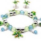 TROPICAL PALM TREES & PINEAPPLE CHARM BRACELET & EARRINGS Set New