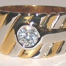 MENS SOLITAIRE RING CHEVRON DESIGN Size 11 New YGP WGP