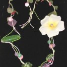 CELEBRITY FABRIC FLOWER NECKLACE Faux Pearl, BEADS New