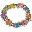 BANGLE BRACELET COLORFUL CATS EYE BEADS + WOVEN LINKS New
