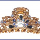 HAIR CLAMP BLUE SWAROVSKI CRYSTALS FILIGREE GOLD TONE New