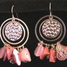 Earrings Exotic Dangle Hoop Pink & Mesh Beads