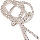 WHITE FAUX PEARL STRANDS BRACELET DOTTED RIBBON BOW New