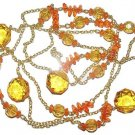 54 inch FLIRTY CELEBRITY NECKLACE CHAIN ORANGE BEADS New