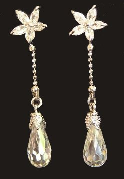 CRYSTAL PETITE DROP EARRINGS FLOWER and Crystal